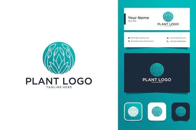 Design de logotipo de luxo de planta verde e cartão de visita