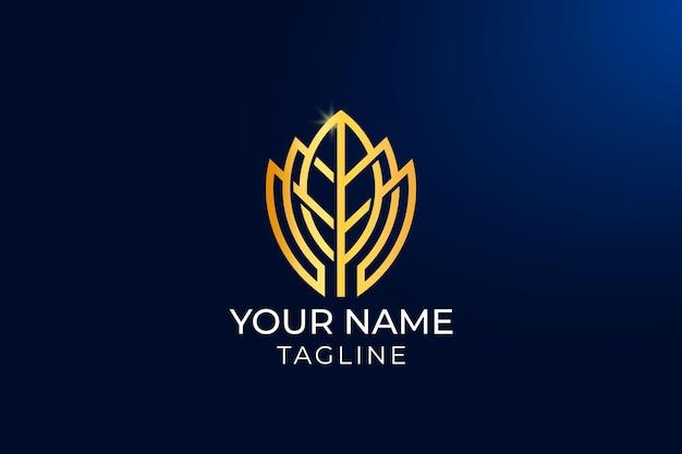 Design de logotipo de luxo golden leaf