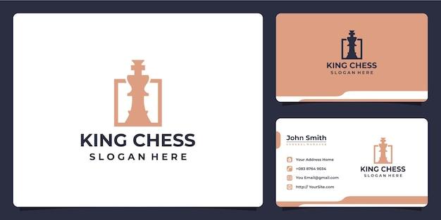 Design de logotipo de luxo king xadrez e cartão de visita