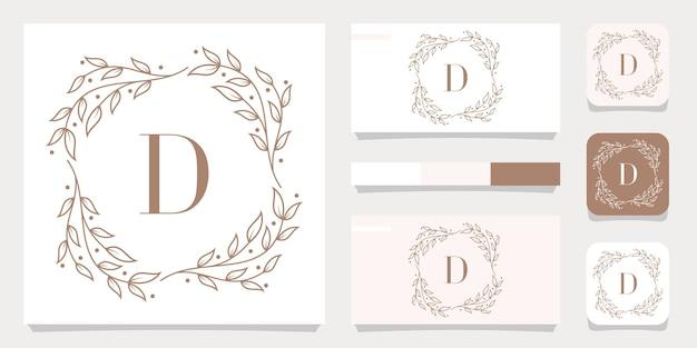 Design de logotipo de luxo letra d com modelo de moldura floral, design de cartão de visita