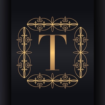 Design de logotipo de luxo letra t