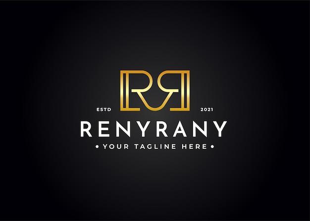 Design de logotipo de luxo minimalista da letra rr
