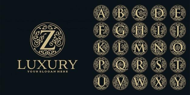 Design de logotipo de luxo, modelo de conjunto de letra inicial