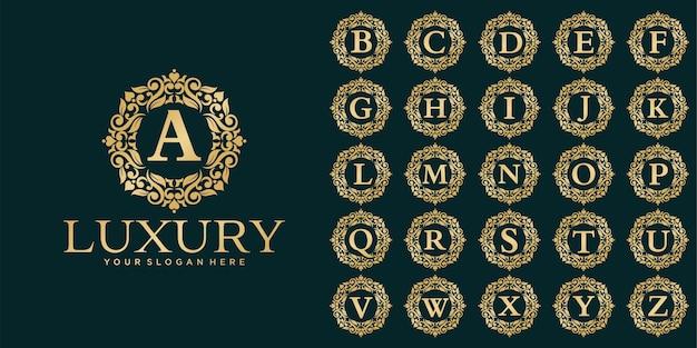 Design de logotipo de luxo, modelo de conjunto inicial de letras