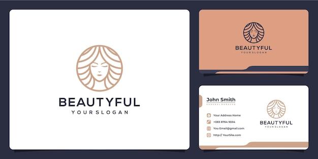 Design de logotipo de luxo monoline da mulher da beleza e cartão de visita