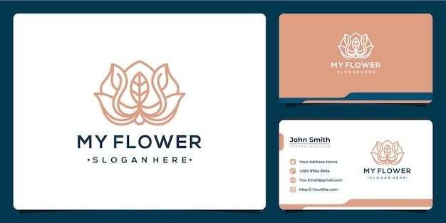 Design de logotipo de luxo monoline de flor com modelo de cartão de visita