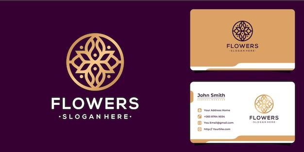Design de logotipo de luxo monoline de flores e cartão de visita