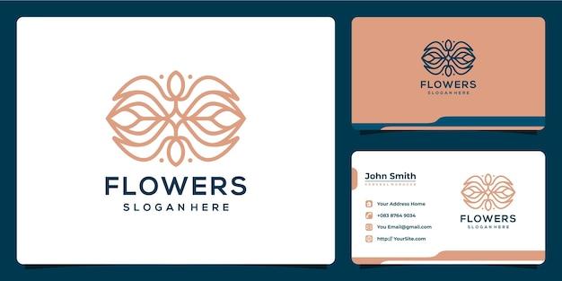 Design de logotipo de luxo monoline de flores e modelo de cartão de visita