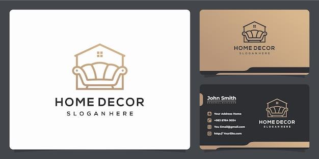 Design de logotipo de luxo monoline de sofá de decoração para casa e cartão de visita
