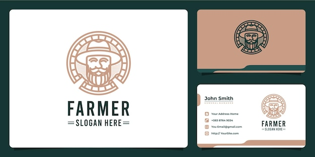 Design de logotipo de luxo monoline do agricultor homem e cartão de visita