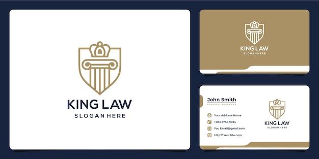 Design de logotipo de luxo monoline king law e cartão de visita