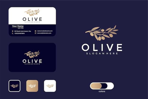 Design de logotipo de luxo verde-oliva e cartão de visita