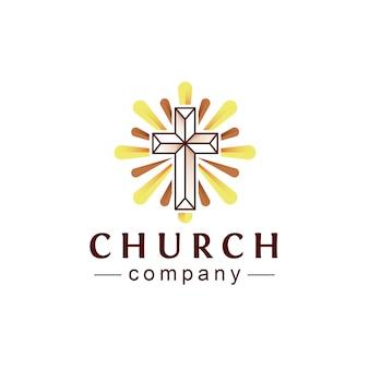 Design de logotipo de luzes de igreja cruzada