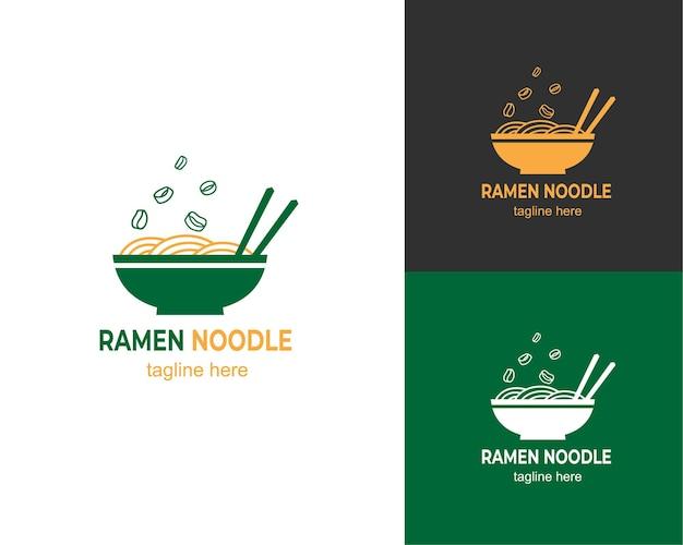 Design de logotipo de macarrão ramen de alho-poró
