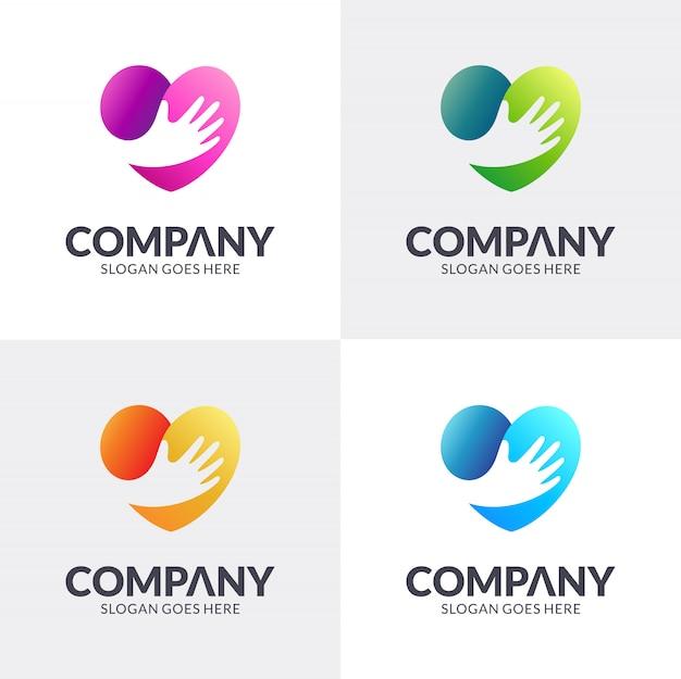 Design de logotipo de mão de coração