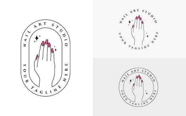 Design de logotipo de mãos e unhas para estúdio de nail art