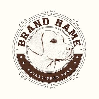 Design de logotipo de marca de cão