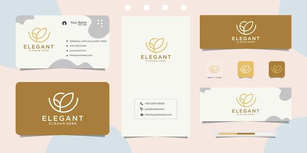 Design de logotipo de marca de cosméticos para salão de spa e cartão de visita