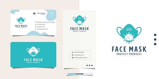 Design de logotipo de máscara de proteção antivírus