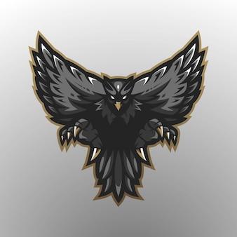 Design de logotipo de mascote águia com estilo de conceito de ilustração moderna para impressão de crachá, emblema e t-shirt. black eagle para jogos