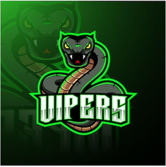 Design de logotipo de mascote cobra víbora verde