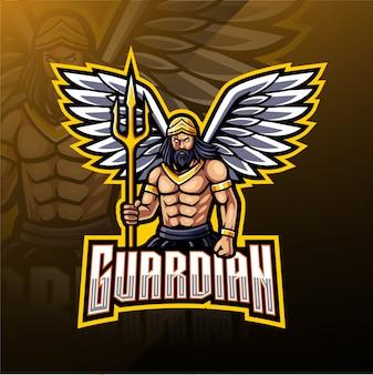 Design de logotipo de mascote de anjo da guarda