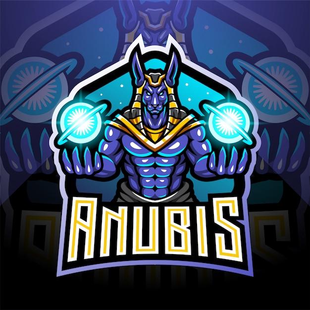 Design de logotipo de mascote de anubis esport