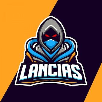 Design de logotipo de mascote de assassino do deserto