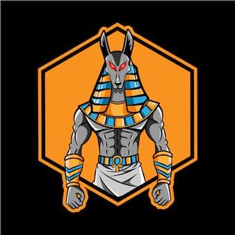 Design de logotipo de mascote de cabeça de anubis
