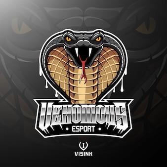 Design de logotipo de mascote de cabeça de cobra