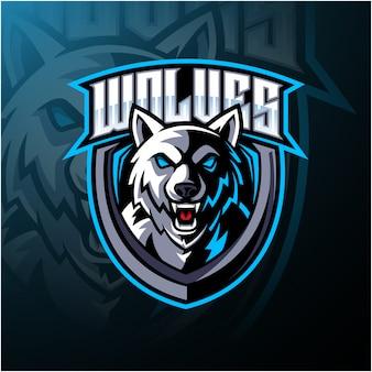Design de logotipo de mascote de cabeça de lobo