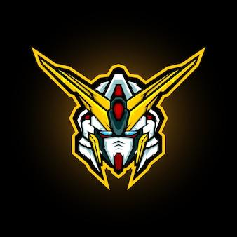 Design de logotipo de mascote de cabeça robótica