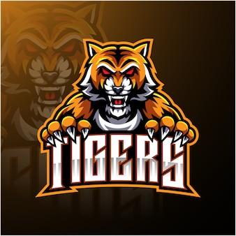 Design de logotipo de mascote de cara de tigre