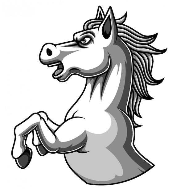 Design de logotipo de mascote de cavalo branco