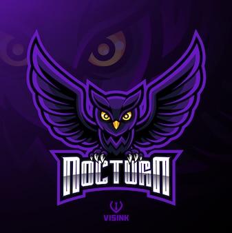 Design de logotipo de mascote de coruja de pássaro noturno