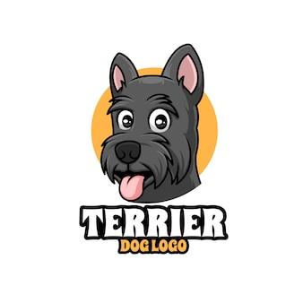 Design de logotipo de mascote de desenho animado de cão terrier