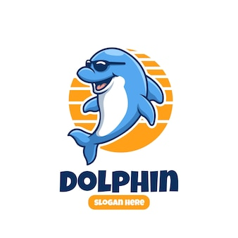 Design de logotipo de mascote de desenho animado fofo e criativo para golfinhos