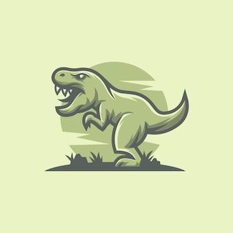Design de logotipo de mascote de dinossauro t rex