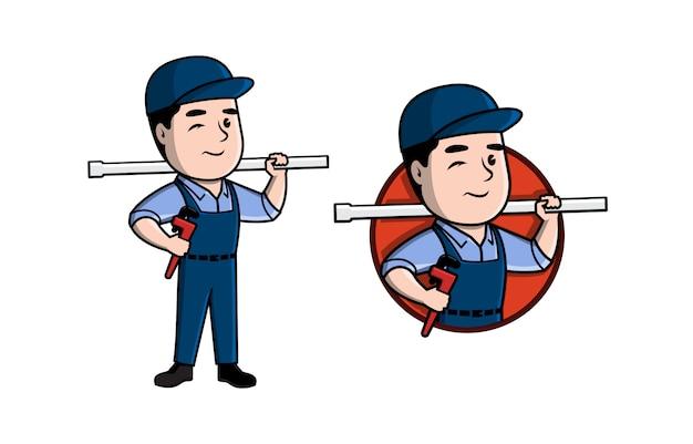 Design de logotipo de mascote de encanamento