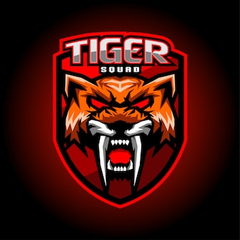 Design de logotipo de mascote de esport de tigre