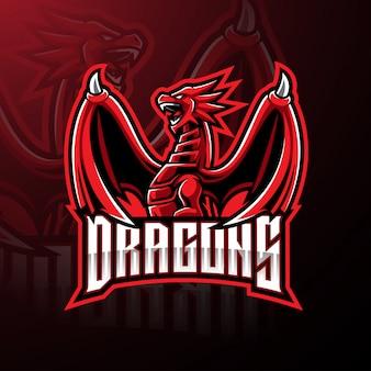 Design de logotipo de mascote de esporte de dragão