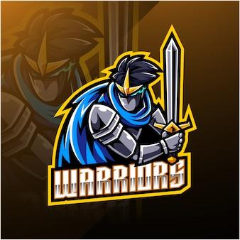 Design de logotipo de mascote de esporte de guerreiros