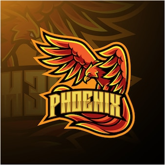 Design de logotipo de mascote de esporte de phoenix