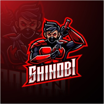 Design de logotipo de mascote de esporte de shinobi