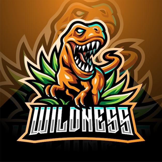 Design de logotipo de mascote de esporte dinossauro