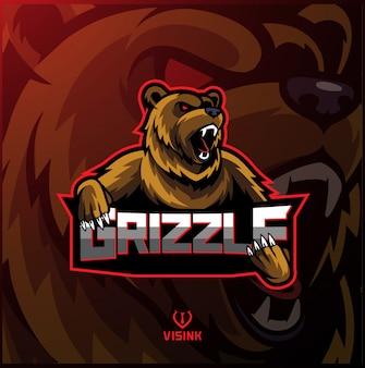 Design de logotipo de mascote de esporte grizzly