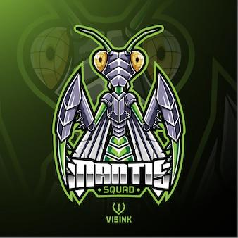 Design de logotipo de mascote de esporte mantis