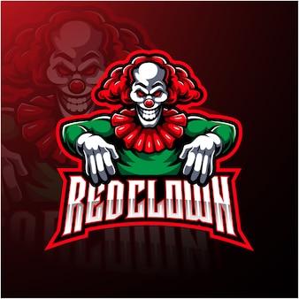 Design de logotipo de mascote de esporte palhaço vermelho