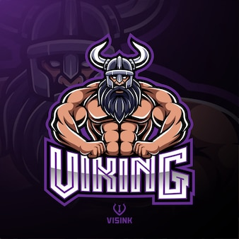 Design de logotipo de mascote de esporte viking