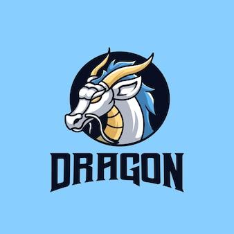 Design de logotipo de mascote de esportes criativos de white dragon